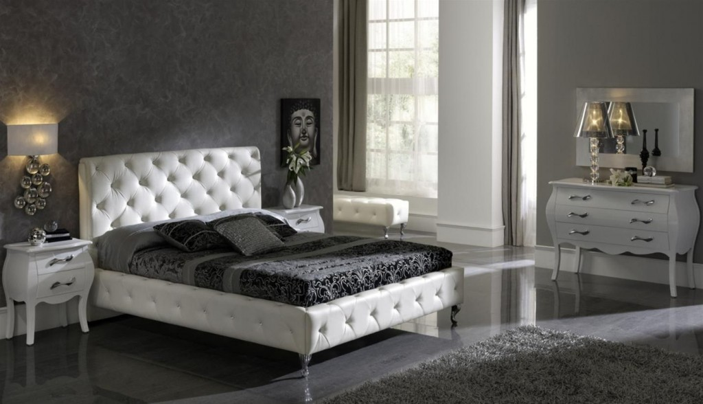 Home Modern Bedroom Furniture Sets With White Modern Soft Bed Dark Mattress And Grey Wall White Wooden Dressing Mirror Awesome Grays Wall Bedroom For Your